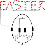 LED flashing light circuit easter egg Stock Photo