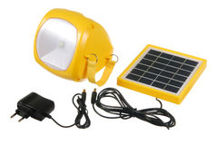 Led flashlight with mini solar panel Royalty Free Stock Photos