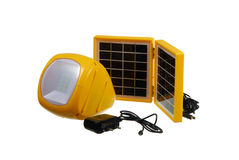 Led flashlight with mini solar panel Stock Photography