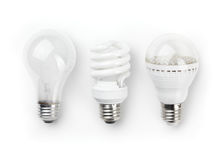 LED Fluorescent and Incandescent Light Bulbs Stock Photo