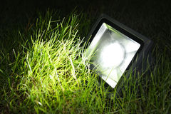 Led garden lamp. Studio shot of LED flood light or Led lawn lamp as garden lamp -  save electricity and  very eco friendly Stock Images