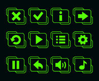 LED green buttons for game vector illustration