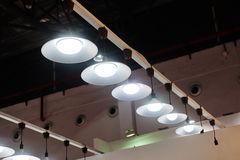 Led hanging lighting in office. Modern pendant led lighting shop in a lighting mall stock image