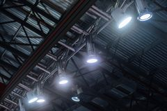 Led hanging spot lighting Stock Photo