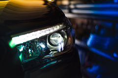 Led headlight Projector Led. Led headlight of car in car Modern technology For car present Royalty Free Stock Photo