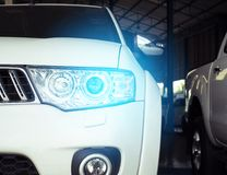 Led headlight car for customers. Using wallpaper or background for transport and automotive image Stock Photos