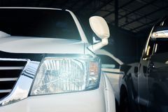 Led headlight car for customers. Using wallpaper or background for transport and automotive image Stock Images