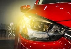 Led headlight car for customers. Using wallpaper or background for transport and automotive image Royalty Free Stock Photos