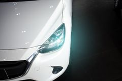 Led headlight car for customers. Using wallpaper or background for transport and automotive image Royalty Free Stock Images