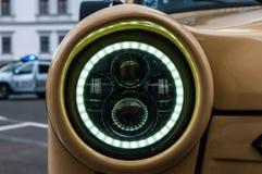 Led headlight on Trabant 601 close up shot. Odorheiu Secuiesc, Romania- 07 July 2018: Led headlight on Trabant 601 close up shot stock photos