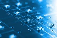 Led Hi Tech Assembling Line. Macro Photo Of Blue Circuite Board, Assembling Line Detail Royalty Free Stock Photography