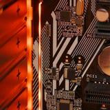 LED-illuminated circuit board stock image