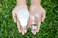LED and Incandescent bulbs - Choice of energy Royalty Free Stock Images