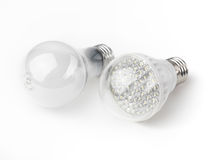 LED and Incandescent Light Bulbs. LED and a regular incandescent light bulbs isolated on white background Stock Image