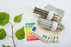 LED Lamp And Money Stock Images