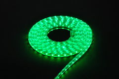 green light led belt, led strip, waterproof blue LED light strips Royalty Free Stock Images