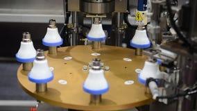 Led lamp bulb robot automatic machine stock video