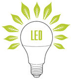 Led lamp ECO energy concept. Eco lamp sign with leaves as rays Stock Photography