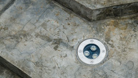 Led-lamp embed in cement Stock Photo
