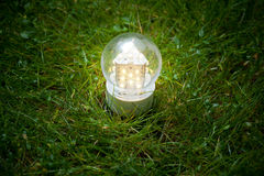 Led lamp on the grass Royalty Free Stock Images