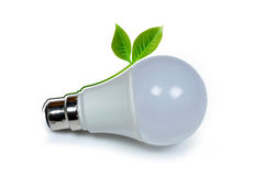 LED lamp with green leaf Royalty Free Stock Photos