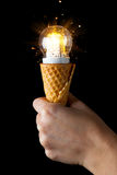 Led lamp in ice cream cone Royalty Free Stock Photography