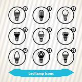 Led lamp icons Royalty Free Stock Photography