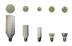 LED lamp isolated on a white  background  with clipping path. A collection of lamps. Stock Photography