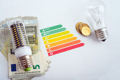 LED lamp and money Stock Photography
