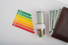 LED lamp and money Royalty Free Stock Photos