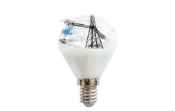 LED lamp with a picture of power lines inside Royalty Free Stock Images