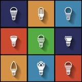 LED-Lampenikonen flach Lizenzfreies Stockfoto