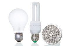 LED lamps and conventional lamps on white Royalty Free Stock Images