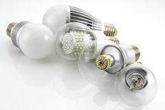 LED lamps E27  with a different chip technology Royalty Free Stock Images