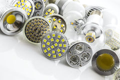 LED lamps GU10 and E27 with a different chip technology also co royalty free stock photography