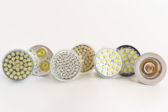 LED lamps GU10. Various types of white LEDs in GU10 Royalty Free Stock Photography