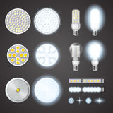 Led Lamps And Lights Effects Set. Turned on and off led lamps and lights effects of different size and shape set on black background isolated realistic vector Royalty Free Stock Photos