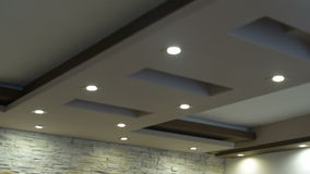 LED lamps in a plaster ceiling stock video footage