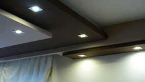 LED lamps in a plaster ceiling stock video