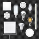 Led Lamps Realistic Transparent Set Royalty Free Stock Images