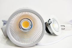 LED lamps for illumination embedded. LED lamps with reflectors for illumination embedded royalty free stock photos