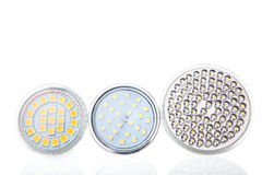 LED lamps on white Stock Photos