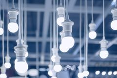 Led lamps or white lamps environment electronic stock image