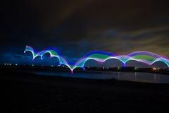 LED-Licht, das abstrakten Hintergrund malt Stockfotos
