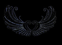 LED Light Angel wing. On black background Royalty Free Stock Images