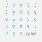 LED Light bulb base type icon set Stock Photography