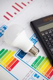 LED light bulb on energy efficiency chart. Economic concept stock images