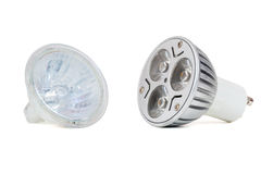 Led light bulb and halogen lamp Stock Photo