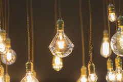 LED light bulb hang from ceiling Stock Images