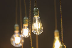 LED light bulb hang from ceiling Royalty Free Stock Photos